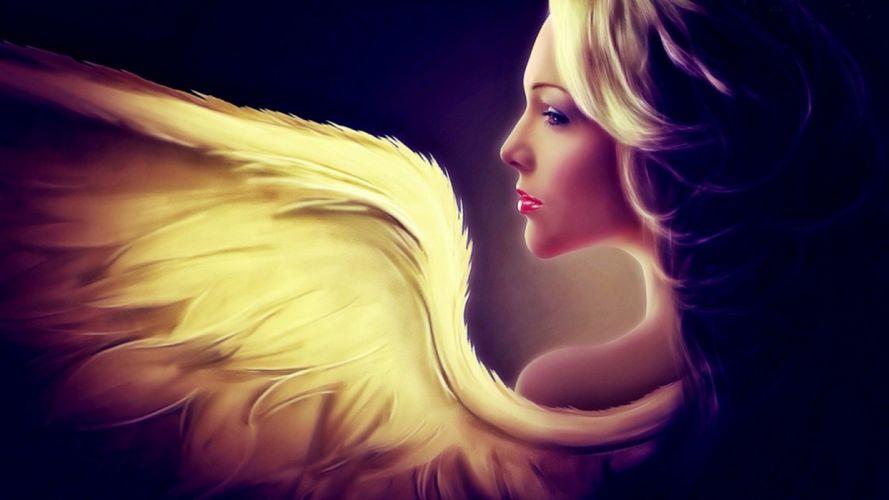 angel wings girl fantasy hair face wallpaper