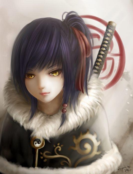 anime girl yellow eyes short hair sword katana warrior wallpaper