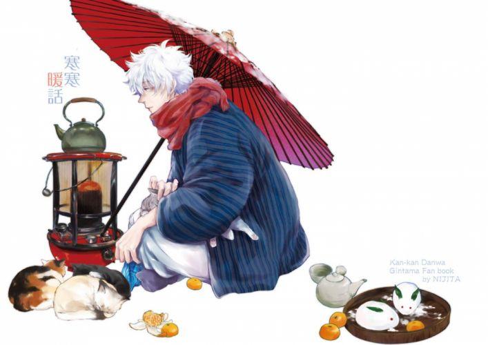 gintama anime series gintoki animal cat einter white background Mandarin orange fruit Snow Bunny wallpaper
