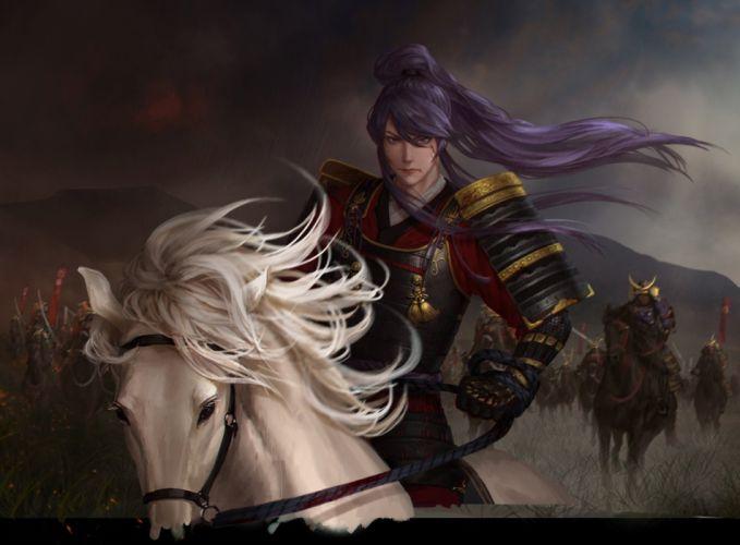 anime hrse vocaloid-kamui long+hair-blue+eyes-looking warrior wallpaper