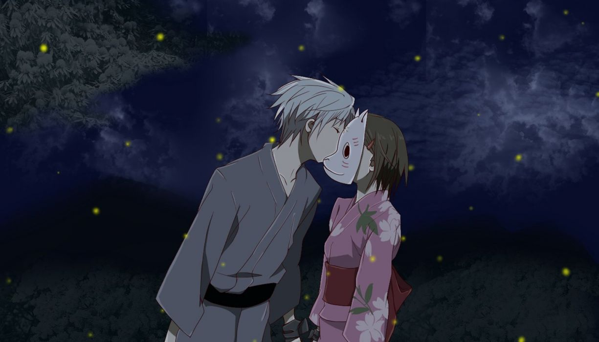 Anime Series Hotarubinomorie Gin Couple Love Kiss Wallpaper