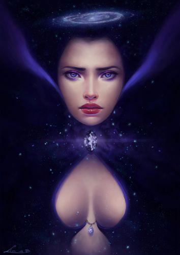 fantasy girl princess face beautiful blue eyes magic galaxy wallpaper