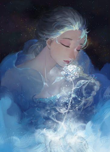 frozen disney elsa rose long hair flower stars cartoon wallpaper