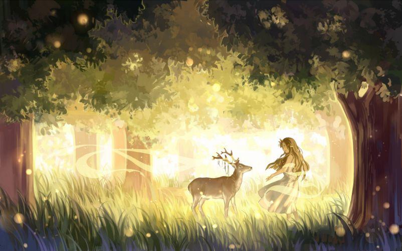 girl anime dress animal tree (trees) leaf (leaves) grass white dress wallpaper