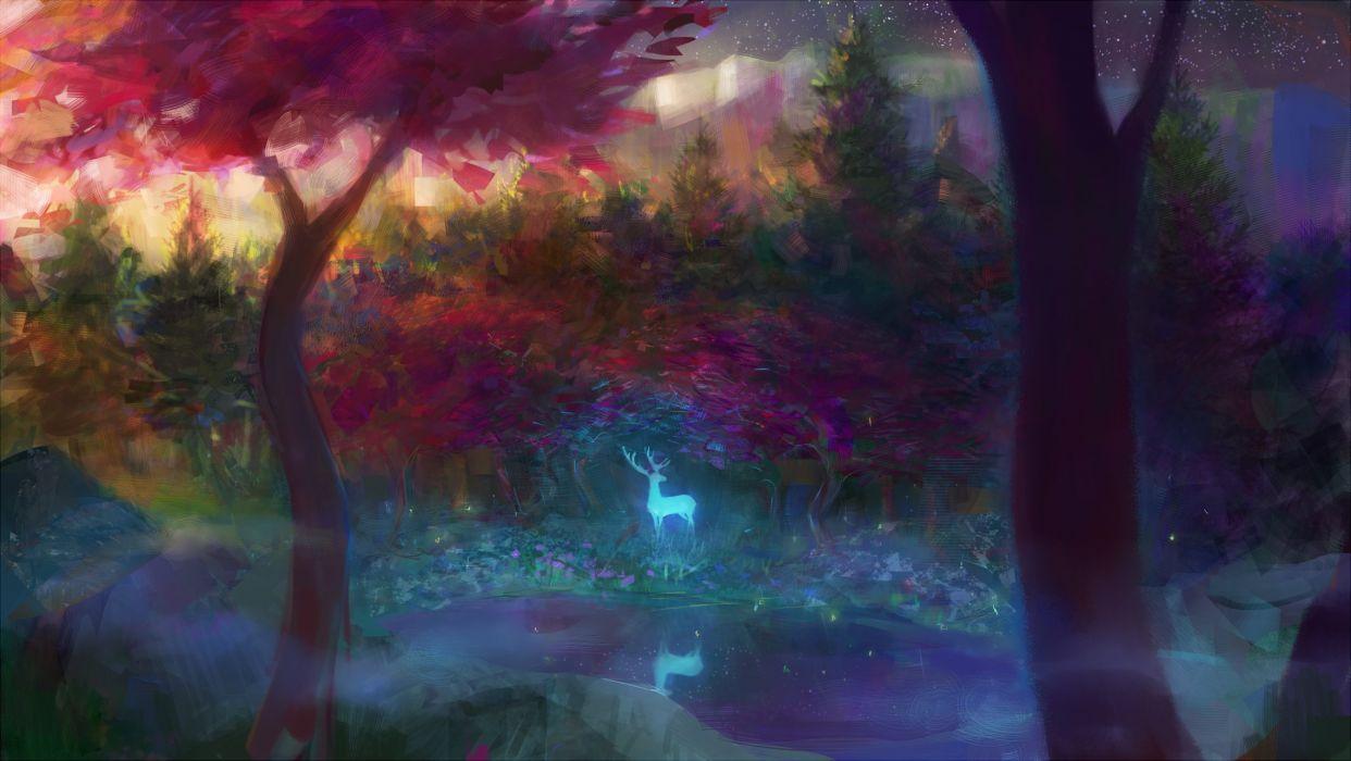 animal fantasy forest tree (trees) water deer wallpaper