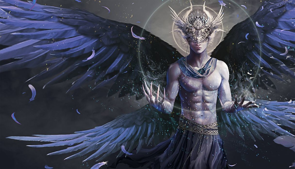 original fantasy angel wings magic feather male wallpaper