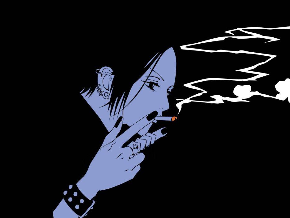 anime series -nana+oosaki-single-short+hair-nail+polish-smoke wallpaper