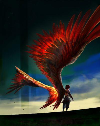 fantasy girl weapon sword wings armor pants wallpaper