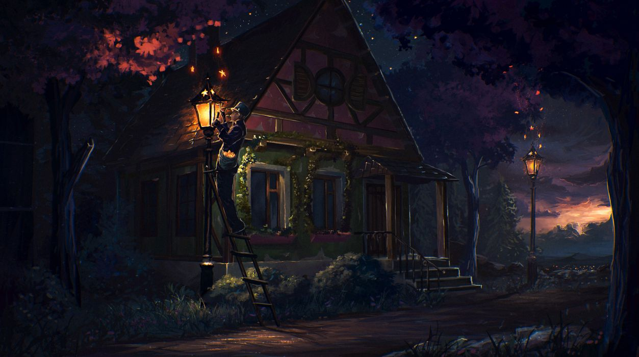 original fantasy painting male hat tree plant building lantern house wallpaper