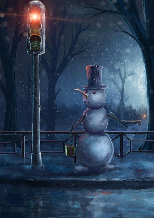 tree fire top hat snowman traffic lights wallpaper