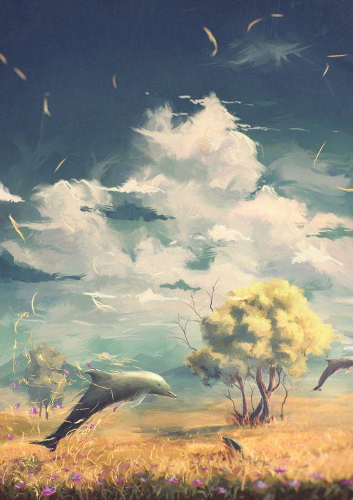 original fantasy world flower animal tree dolphin wallpaper