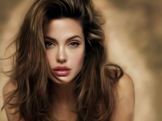 ART - Angelina Jolie beautiful painting girl sensuality wallpaper