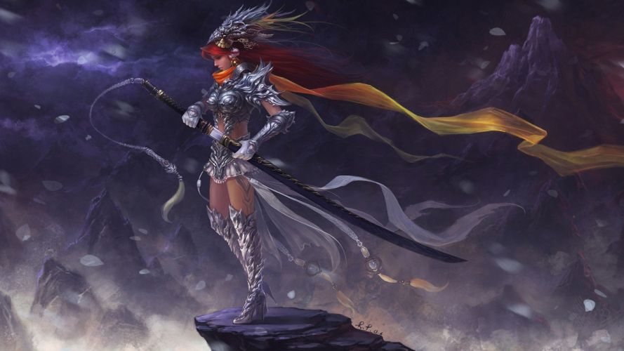 ART - fantasy girl armour sword wallpaper