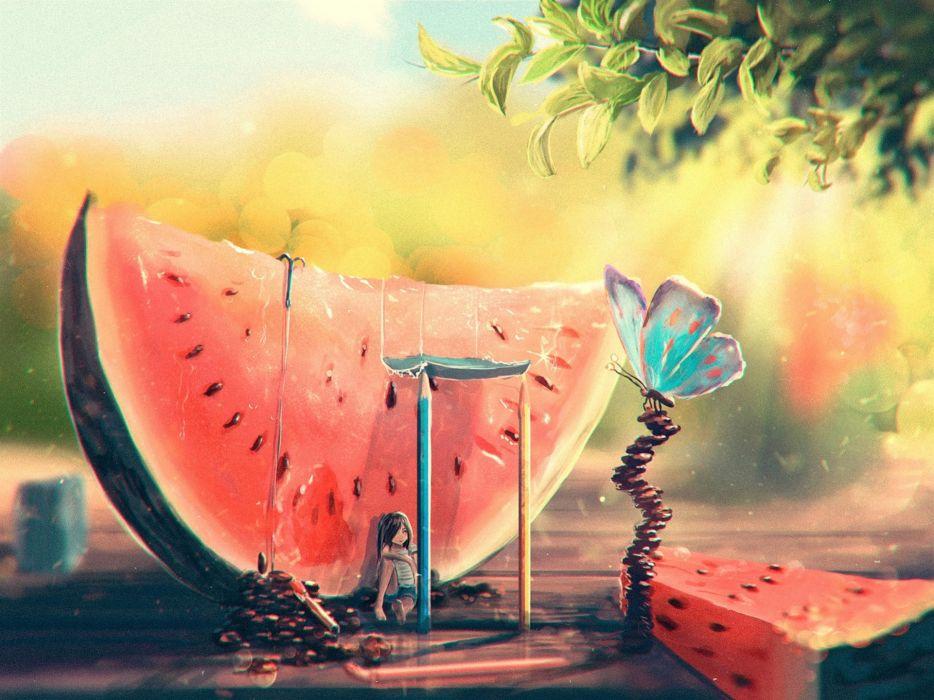 ART - summer watermelon girl butterfly painting wallpaper
