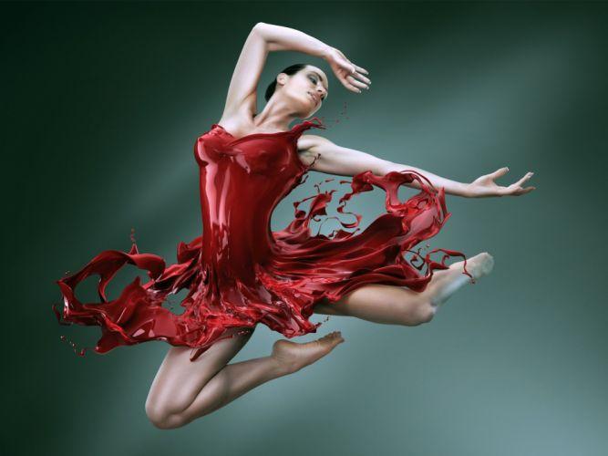 SENSUALITY - dance red dress girl wallpaper
