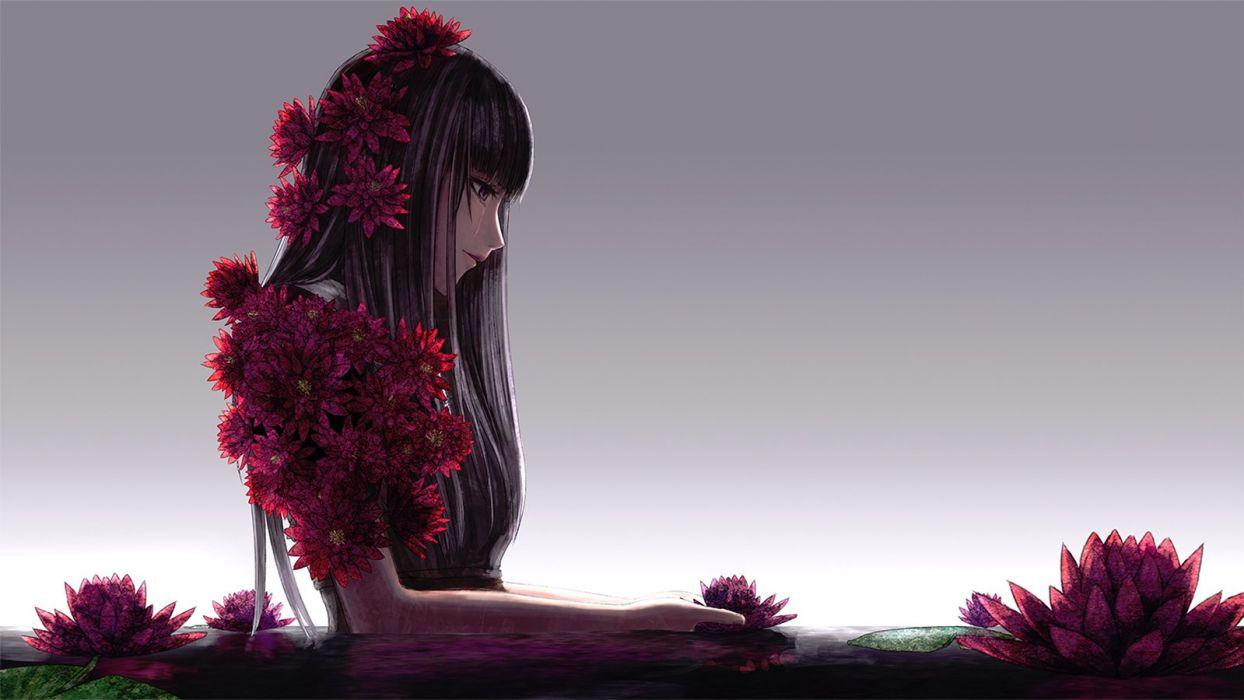 Flower Anime Girl Alone Long Hair Lotus Wallpaper 1600x900