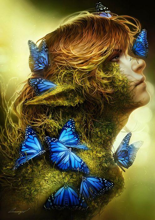 fantasy butterfly blue elf fairy brown hair blue eyes original wallpaper