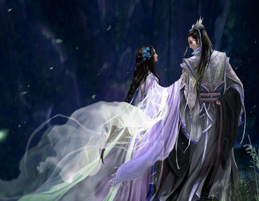 couple love romantic dress long hair girl male anime wallpaper