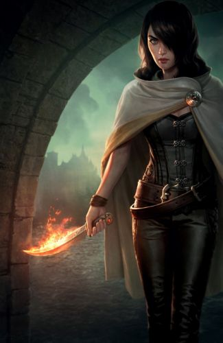 fantasy warrior girl fire knife green eyes short hair wallpaper