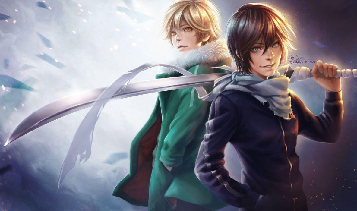 anime series noragami boys sword smile character yato yukine wallpaper