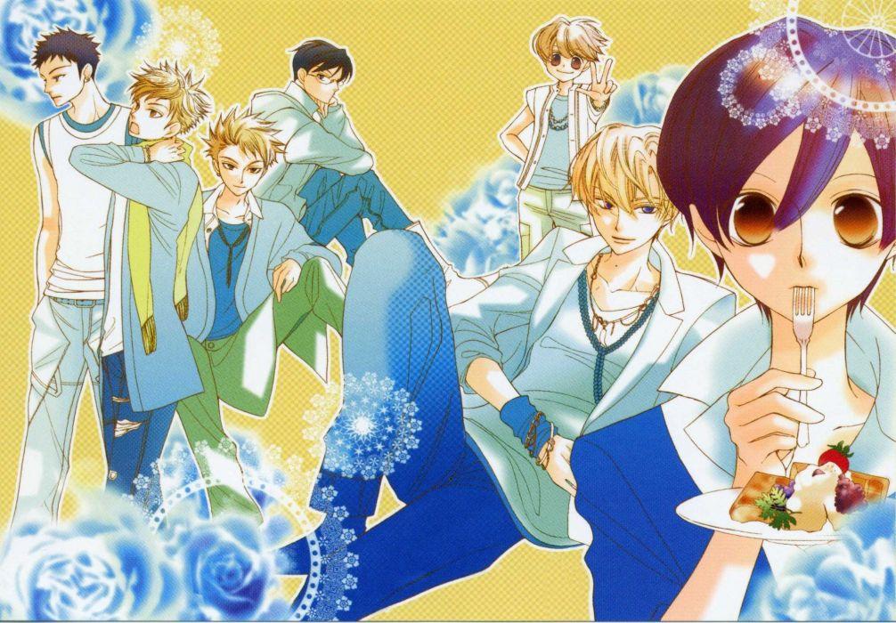 anime series ouran high school host club group food wallpaper