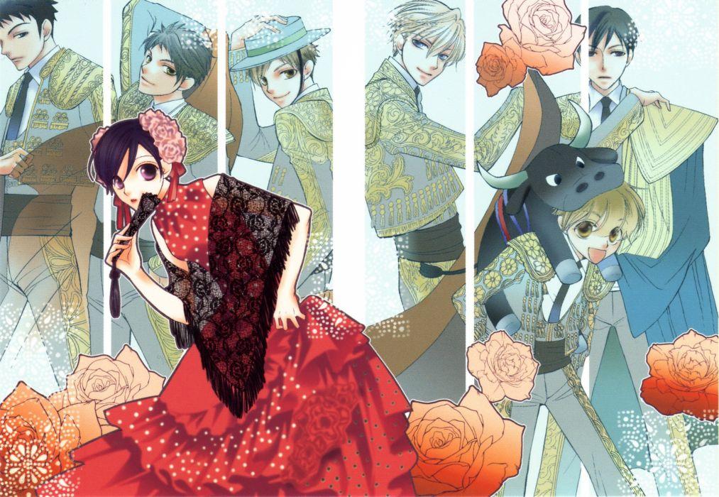 anime series ouran high school host club group friend wallpaper