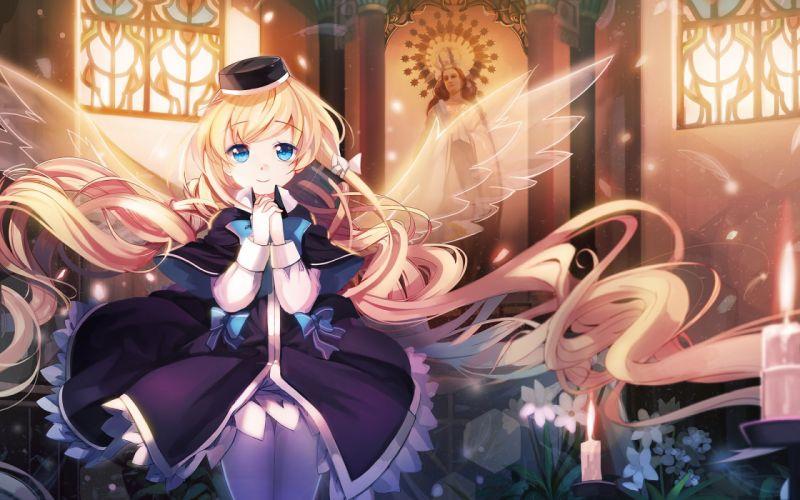 original anime girl dress flower ribbon wings pantyhose candle wallpaper