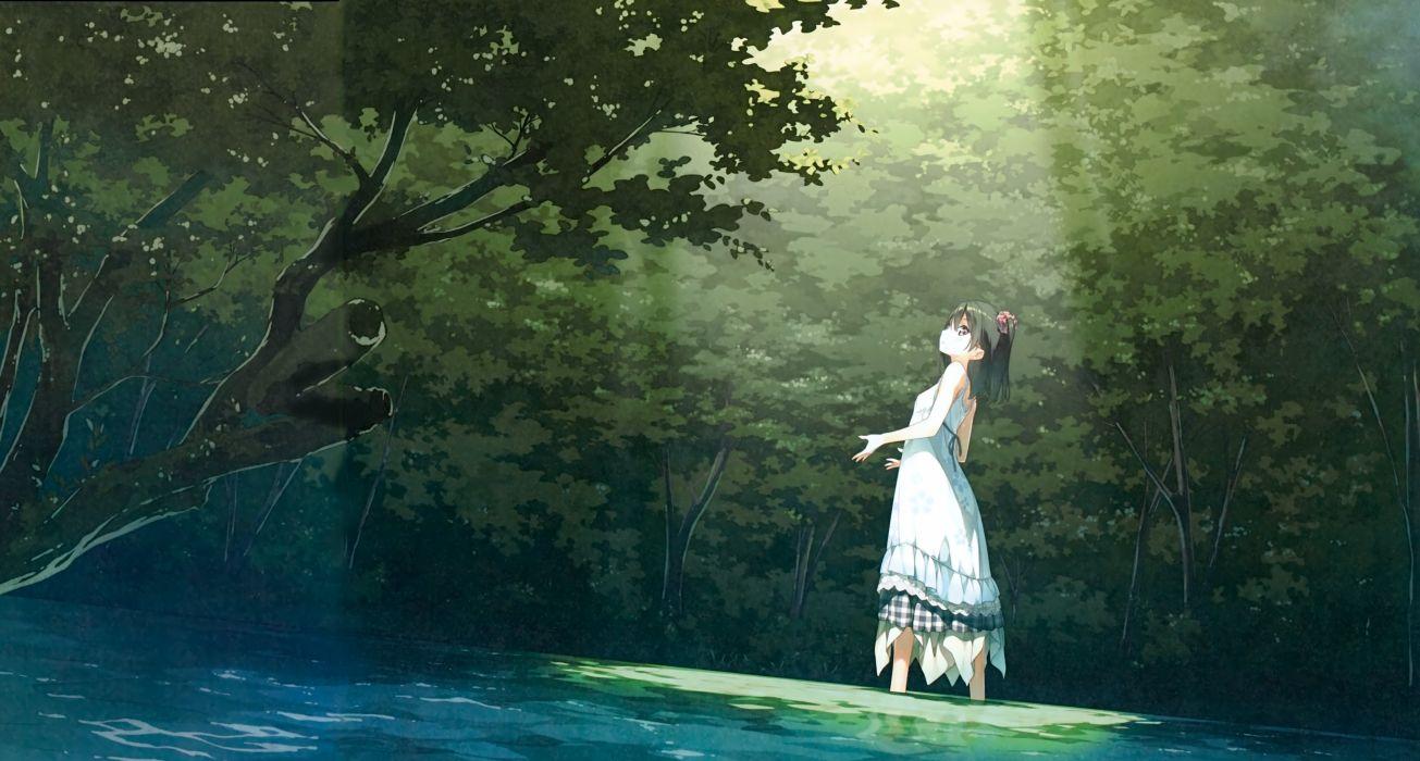 original anime girl forest sunshine sunlight dress water wallpaper