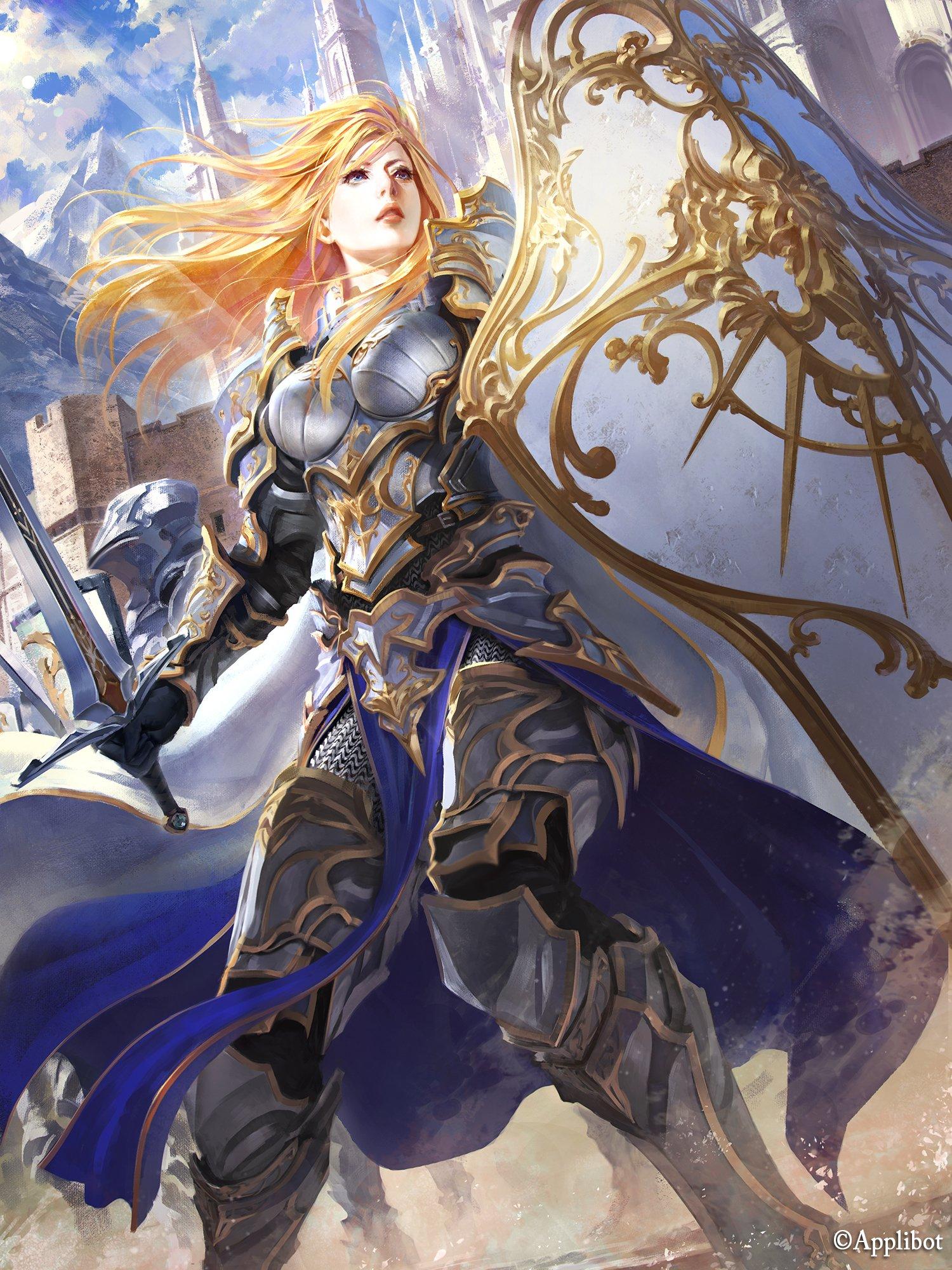 Fringe Original Blonde Girl Weapon Fantasy Sword Armor