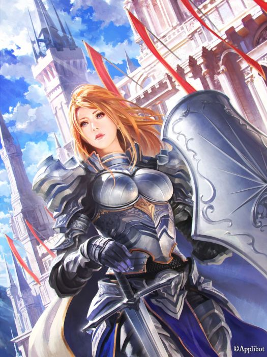 original purple eyes cloud fantasy armor girl warrior wallpaper