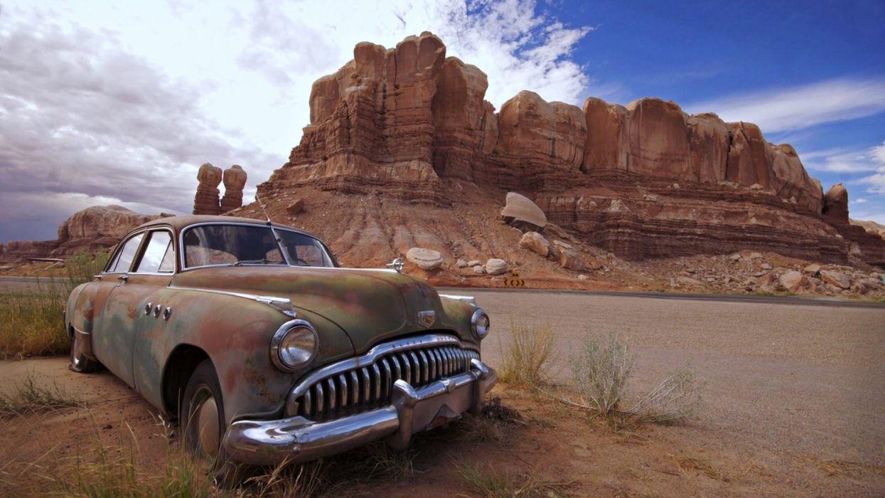 desert old cars landscape nature rocks Mountains wallpaper