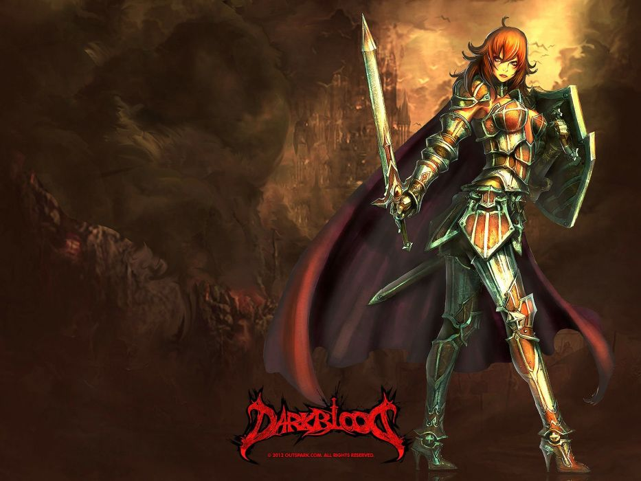 DARK BLOOD ONLINE arcade scrolling fantasy rpg mmo action fighting 1dbo warrior poster wallpaper