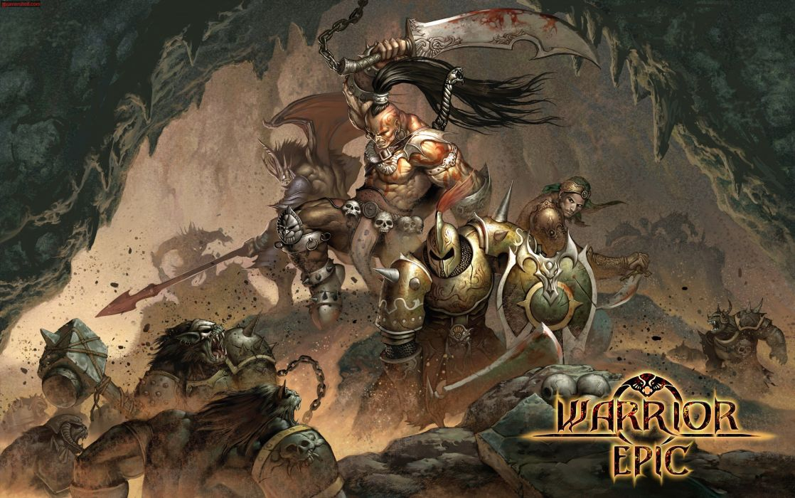 WARRIOR EPIC fantasy mmo rpg fighting online 1weo action poster wallpaper