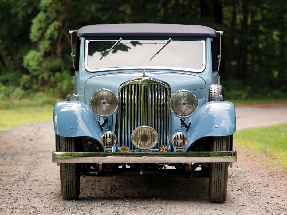 1938 A-C Six Model- 1670 Drophead Coupe luxury retro vintage wallpaper