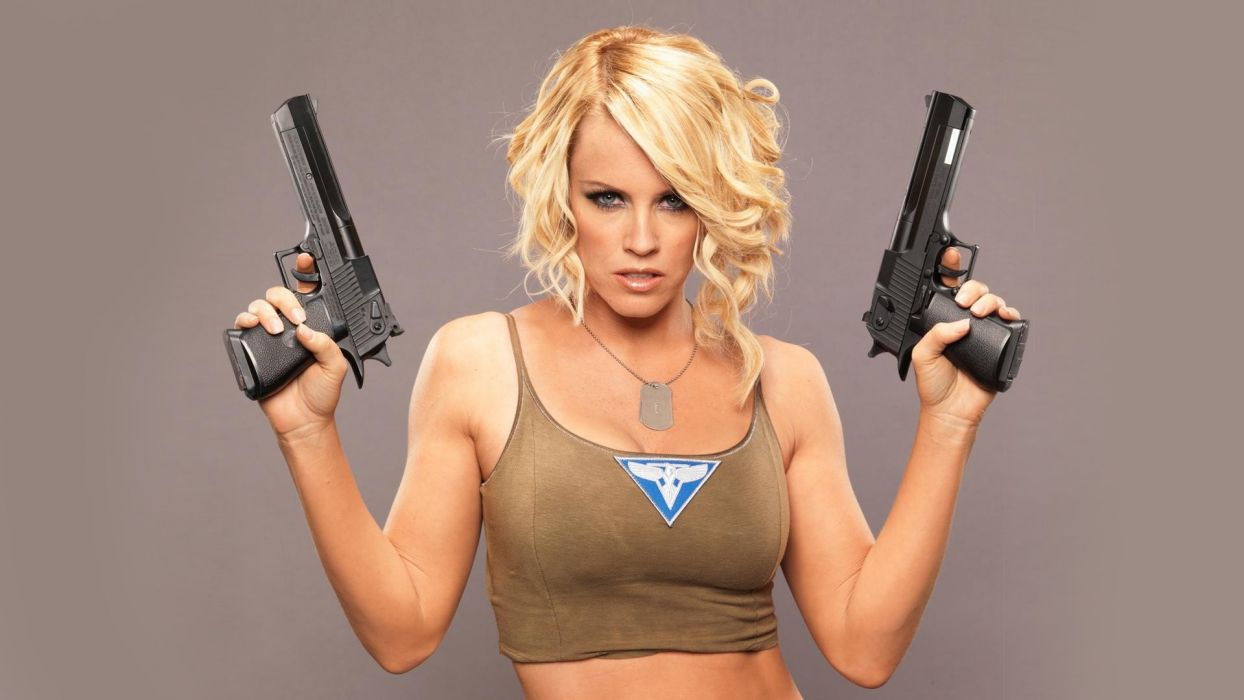 WOMEN AND GUNS - jenny mccarthy blonde girl cosplay command and conquer games pistols look wallpaper