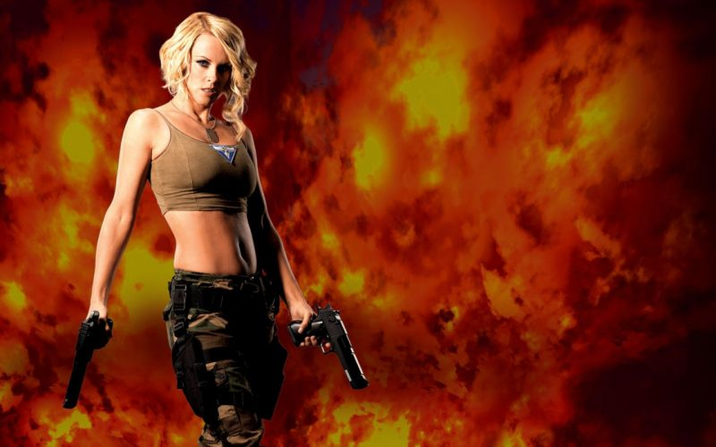 WOMEN AND GUNS - jenny mccarthy blonde girl cosplay command and conquer games weapons wallpaper