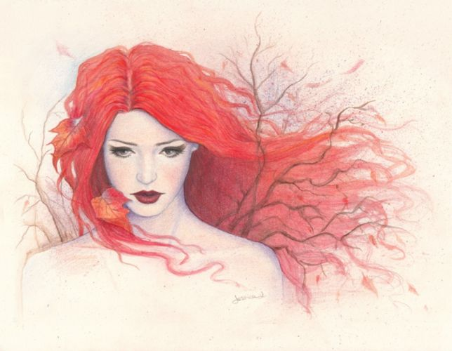 pencil girl painting drawing autumn red hair art wallpaper