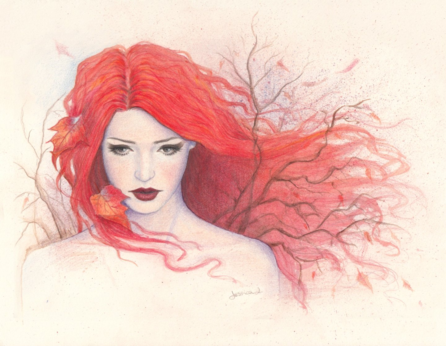 Pencil girl painting drawing autumn red hair art wallpaper for Beautiful sketch paintings