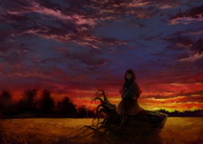 original anime girl alone sunset tree red wallpaper