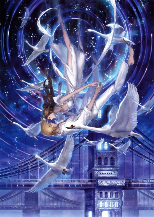 original anime girl swan white dress long hair couple guy fly wallpaper