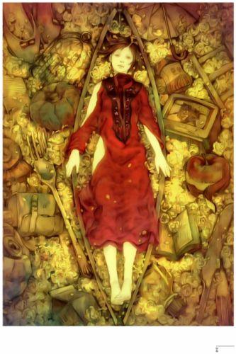 original anime girl flower red dress short hair roses wallpaper