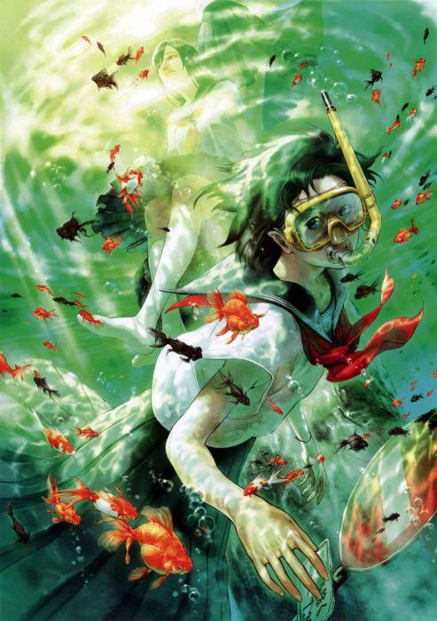 water deep fish red school girl uniform anime wallpaper