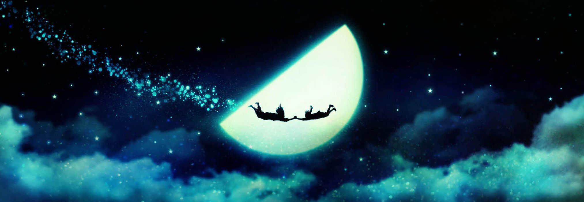 original anime moon magic fly sky star cloud wallpaper
