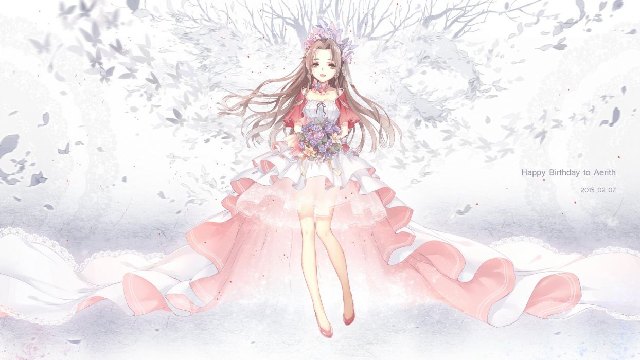 final fantasy anime series long hair girl flower dress wallpaper