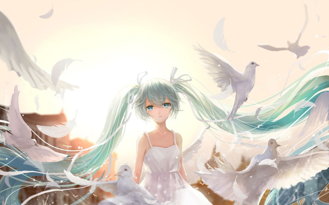 anime vocaloid-hatsune+miku looking girl bare+shoulders dove bird wallpaper