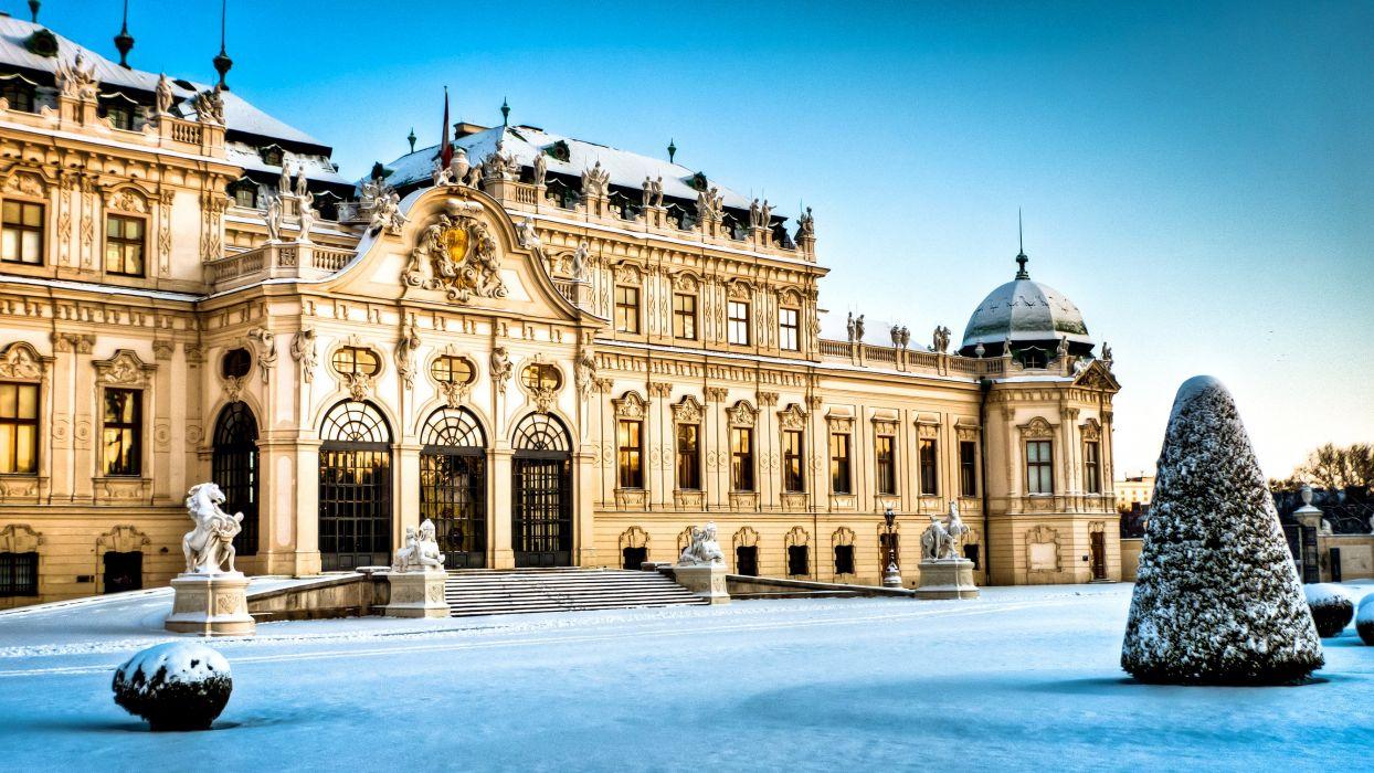 Austria Castle Winter Wien Belvedere Snow Cities wallpaper