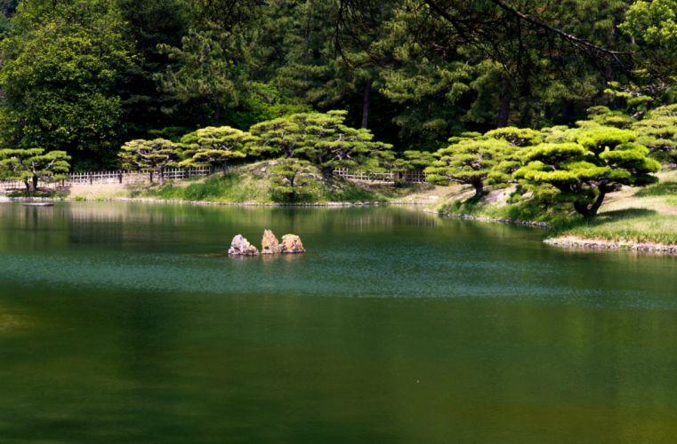 apan Parks Pond Takamatsu Ritsurin garden Shrubs Nature wallpaper