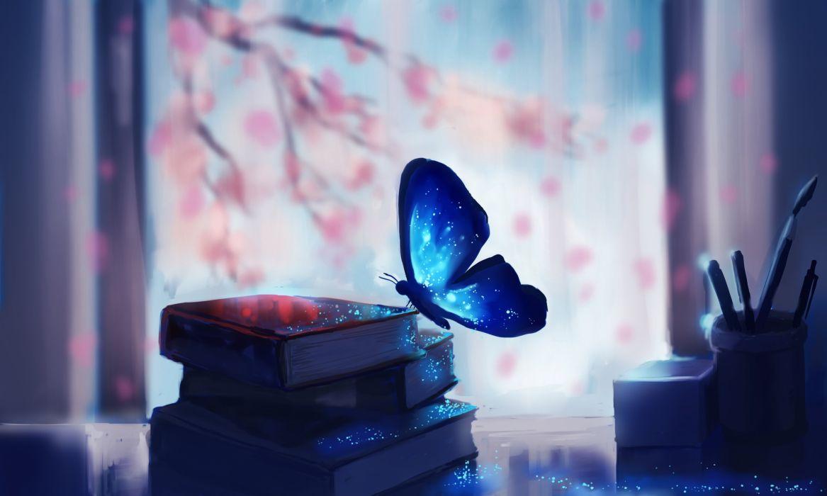 art chibionpu butterfly books branches tree Sakura book artwork painting wallpaper