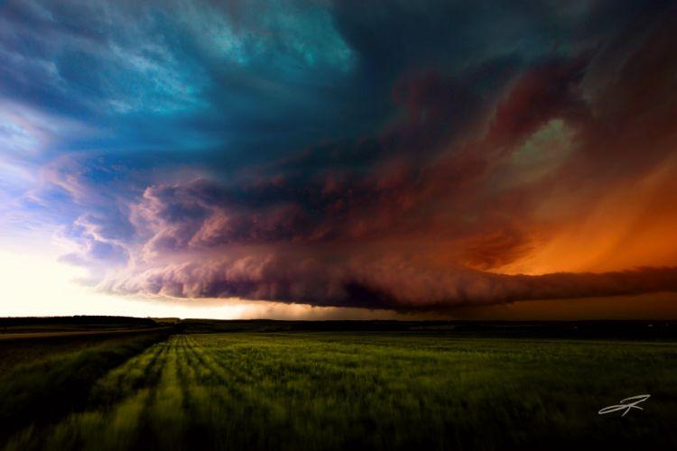 Canada Alberta Canada storm sky clouds field grass nature landscape rain wallpaper