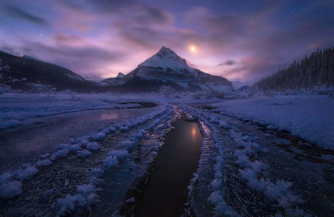 Canada Alberta Jasper national Park winter snow mountains night moonlight wallpaper